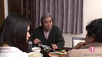 Cute short-haired Japanese wife with gorgeous ass cannot resist her father-in-law's big cock