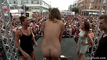 Ariel X and Bill Bailey d. hot blonde slave Mona Wales in rest room for crowd then piss her outdoors in folsom street fair for horny public