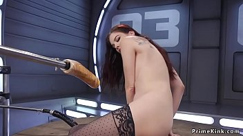 Watch Slim small tits redhead solo hottie gets fucking machine in her pierced pussy preview