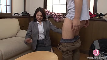 Alluring Japanese mature woman with huge nipples and ass gets banged on a house visit