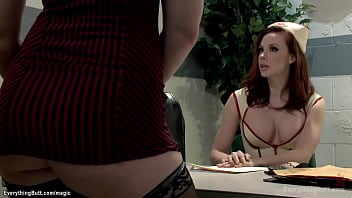 Big boobs nurse in latex Chanel Preston watching brunette lesbian patient Jodi Taylor stripping behind the screen and then takes and anal fucks her with strapon in the hospital