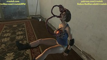 Jill Valentine getting throat fucked by Parasite Monsters 3D Animation
