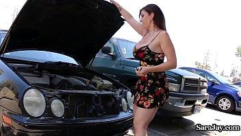 Busty Legend Sara Jay Rides Her Car Mechanic's Dick