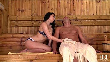 Insatiable Teen Lucy Li rides a fat dick in the Sauna