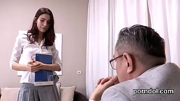 Nice bookworm gets tempted and shagged by her aged teacher