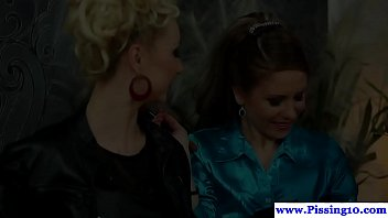 Stockinged piss babes in group fucking