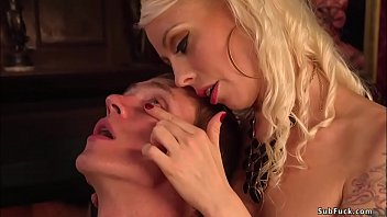 Blonde MILF femdom Lorelei Lee wanks and suck dick to tied and gagged man Zane Anders then gives him pegging and rides his cock in reverse cowgirl position