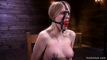 Gagged naked blonde slave in chair bondage gets electro shocked Thumbnail