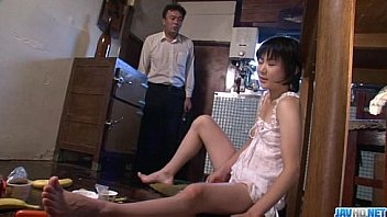 Hot momAoba Itou kneels to suck on a y. cock