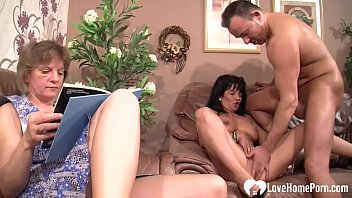 Horny dude gets to fuck a y. babe as his granny watches and joins sometimes.