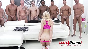 Petite Kira Thorn gets the GANGBANG of her life - Fucked by 10!