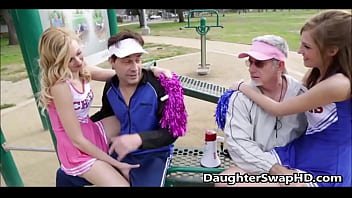 Two cheer leaders dads think the others daughter is hot and agree to swap daughters for fucking
