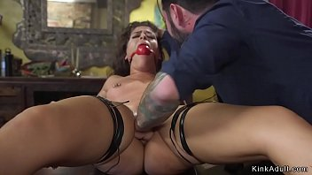 Dude puts Brunette slut in bondage and fists her tight ass