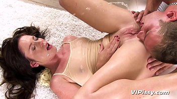 Horny babe Jessica gets surprised by her lover pissing on her during her yoga session, but she loves every minute and they are soon enjoying a very wet fuck session!