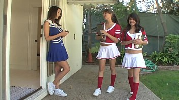 Cute cheerleaders  Evelin Rain, Ella Milano and Layla Rose decided to have an experiment making Sapphic threesome intercourse
