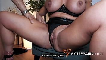 British Busty Blonde Bitch Milf Dates Muscular German Bodo! WolfWagner.com