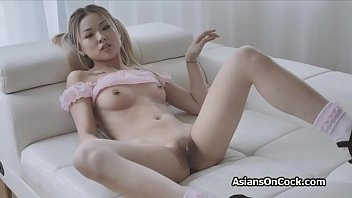 Perky Asian cutie cant get enough of this big dick