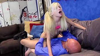 Tiny blonde Piper Perri fucking on sofa