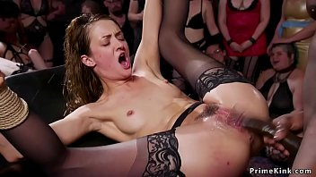 Hot slaves are vibrated and rough interracial banged by huge black cock in the upper floor orgy bdsm party