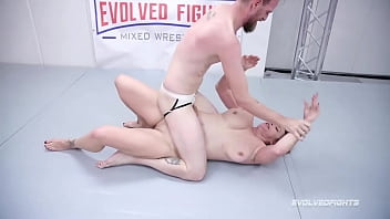 Naked Wrestling sex with Bella Rossi battling Chad Diamond sucking that dick and getting fucked hard