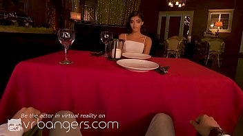 Watch VR BANGERS Brunette girlfriend blowing your dick under the table preview