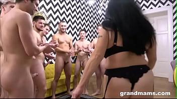 10 Cocks Granny Gangbang at Grandmams