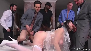 Big booty brunette bride Siouxsie Q gagged with huge dicks then in interracial orgy with five men double penetration gang bang fucked