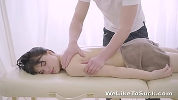 While enjoying an oiled up massage, this gorgeous brunette lets her masseuse take things that little bit further and lets him fuck her right there on the massage table