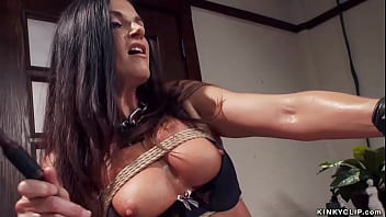 Brunette MILF trainee India Summer is made to whip herself then suck huge dick to gimp Owen Gray in sixtynine position till gets breast cumshot