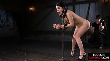 BDSM sub dominated with wax before dildo in her ass