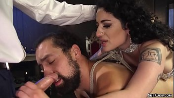 Big boobs tattooed brunette femdom Arabelle Raphael in white lingerie pegging her slave DJ in gangbang with Will Havoc then fucking over his face