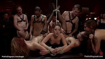 At Princess Donna Dolore Bday poblic party group of hot slaves are made to suck and fuck in rope bondage in various positions by big dicks