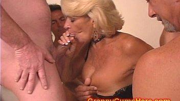 Granny gets a GANG BANG and Cum Bath Thumbnail