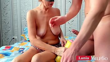 Milf milking her sons big cock and extract fresh semen sperm taboo