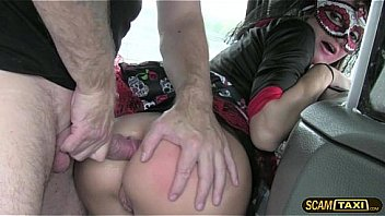 Alluring brunette babe gets hardcore anal inside the taxi