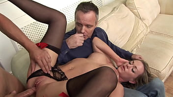 Cuckold husband tasting anothers men sperm from his wife tits