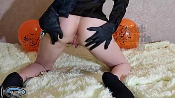 Вебкам Модель Хеллоуин Эротичный Костюм Без Трусики С Анальная Пробка Хвост Кролика Получает Оргазм