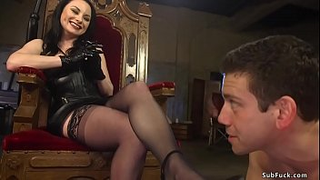 Brunette boss slut Veruca James in black leather dress and lingerie otk spanks man slave Reed Jameson then makes him rimming her and worship her shoes