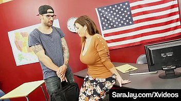 Hot Curvy Teacher Sara Jay, fills her fuck holes with a foreign student's hard cock, milking him until he unloads a huge load of cum all over her face & big tits! Full Video & Sara Live @ SaraJay.com!
