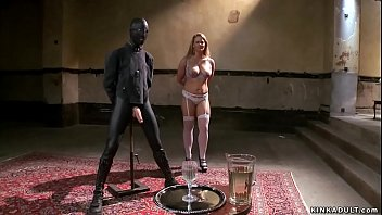 Fake boobs blonde slave trainee Holly Heart in lingerie is made fuck vibrator in squat position then master James Mogul makes her fuck big cock gimp