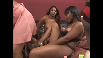 Hot ebony whores take huge toys in their twats
