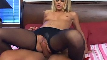 Skinny blonde fucked in sexy crotchless hosiery