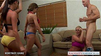 Brunette babe Kortney Kane fucking in groupsex