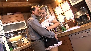 Stunning blonde maid Mia Leone was putted from the rough on the kitchen by horny resident