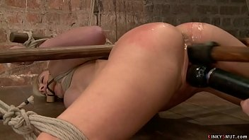 Big tits blonde MILF slave Cherie DeVille endurs rough hogtie bondage then mistress toys her squirting pussy and fucks her tight ass