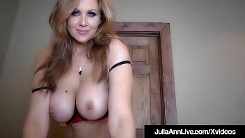 Sexual Diva Julia Ann lays on her stomach & engulfs a big cock, stroking this hard shaft with amazing ability until she gets her milky surprise - right into her mouth!