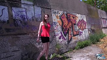 Cremapie in sunny day in public for super skinny babe