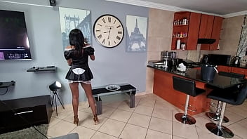 Desi domestic worker in French maid outfit gets a surprise piss facial while cleaning