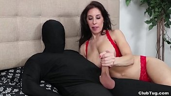 Masked man wants a handjob from hot MILF Fiona - but instantly regrets it when he cums on his own face and in his eye. Milfs handjobs are best handjobs.