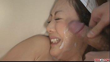 Beautifuk Japanese Rina Yuuki sprayed together man gravy